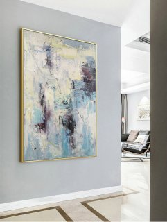 Large Texture Abstract Painting, Abstract Painting, Blue White Abstract Art, Acrylic Abstract Paintings On Canvas, Large Living Room Art,black white modern art