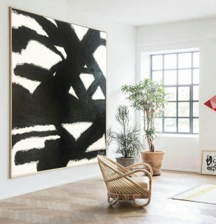 Abstract art, Black and white art, Square picture, Oil painting, Oil canvas art, Large abstract wall, White squares, Modern painting, Art,abstract black ink