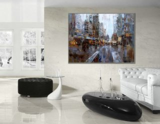 "36x48"" / 90X120cm Modern Contemporary Skyline Wall Art New York Abstract Hand Painted Oil Painting on Canvas,abstract silver wall art"