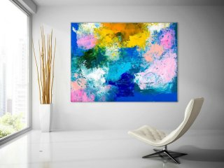 Pink Blue Extra Large Wall Art, Abstract Painting on Canvas Modern Home Decor Office Home Artwork Large Original Contemporary art XL lac693,contemporary japanese woodblock prints