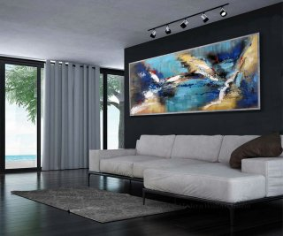 "Abstract Wall Art Modern Colorful Large Modern Art Panoramic Abstract Painting 27x72""/70x180cm,tate modern surrealism"