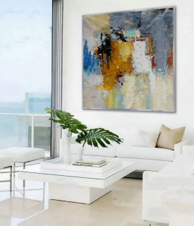 "Abstract Wall Art Hand painted Acrylic Palette Knife Oversize Large Square Painting on Canvas 60 x 60"" for Living Dining Room Office,modern art for sale online"