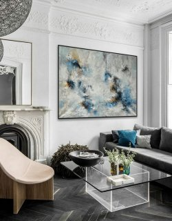 "Heavy Texture Abstract Wall Art Hand Painted Modern Contemporary Acrylic Painting on Canvas Extra Large XL 60x80"" / 150x200cm,ikea abstract art"