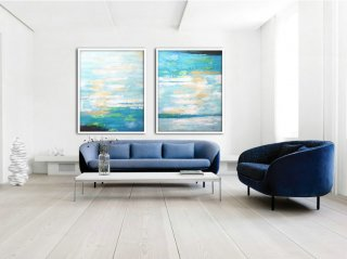 Set Of 2 Large Abstract Painting Canvas Art, Contemporary Art Wall Decor, Original Art by Biao, Green, yellow, blue,abstract painting easy for beginners