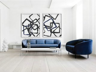 Set Of 2 Huge Contemporary Art Acrylic Painting On Canvas, Minimalist Canvas Wall Art, Geometrical Art, Navy blue, black.,the most expensive abstract art